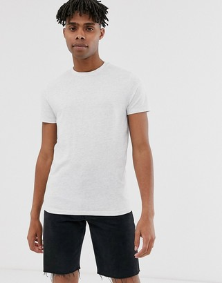 Asos Design DESIGN t-shirt with crew neck in white marl