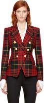 Balmain Red and Black Tartan Six-button Blazer