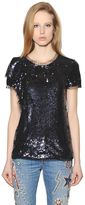 Amen Sequined Tulle & Jersey Top