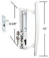 C.R. Laurence CRL White Flush Mount Keyed Sliding Glass Door Handle Set w/ Inside Pull 6-5/8'' Screw Holes