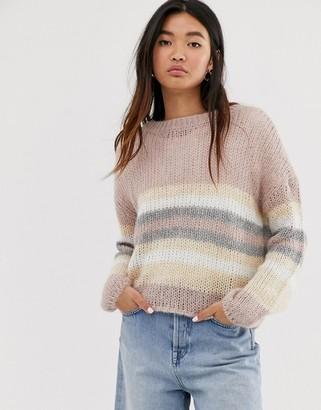 Only knitted jumper in pink stripe