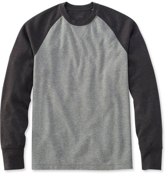 L.L. Bean Men's Washed Cotton Double-Knit Crewneck, Slightly Fitted Long-Sleeve Colorblock