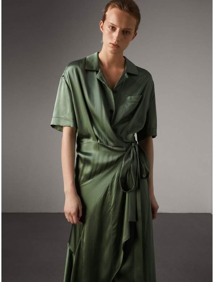 Burberry Washed Silk Satin Tie-waist Shirt Dress