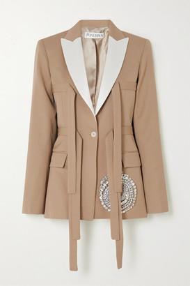 J.W.Anderson Crystal-embellished Satin-trimmed Wool-twill Blazer - Beige