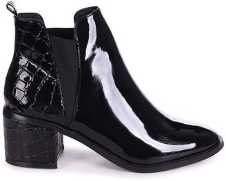 Linzi DONNA - Black Patent & Croc Pull On Block Heeled Ankle Boot