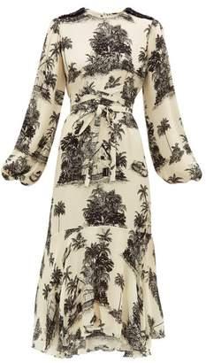 Johanna Ortiz Nostalgia Del Pasado Toile-print Silk Dress - Womens - Black Print