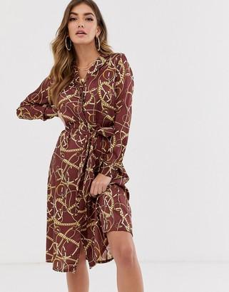 NA-KD Na Kd chain print shirt dress
