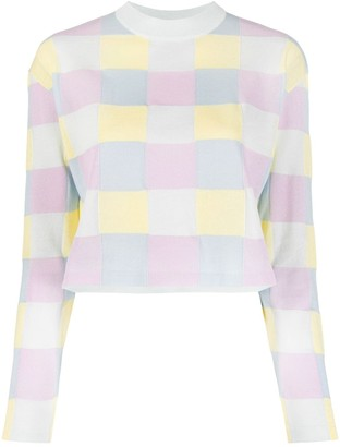 MAISON KITSUNÉ Checkerboard Cropped Sweater