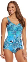 Penbrooke Shell A Go Go Blue Shirred Girl Leg One Piece Swimsuit 8150438