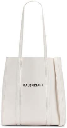 Balenciaga XS Everyday Tote Bag in White & Black | FWRD