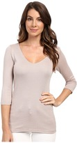 Michael Stars Shine 3/4 Sleeve Double Front V-Neck
