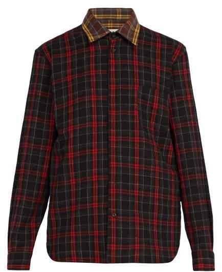 Marni Checked Wool Flannel Shirt - Mens - Black Brown