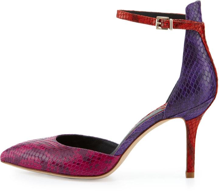 Brian Atwood Mariela Snake Point-Toe Pump, Dark Pink
