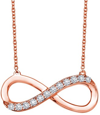 Lafonn Rose Gold Plated Sterling Silver Simulated Diamond Infinity Pendant Necklace