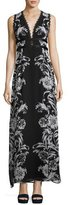 Nanette Lepore Sleeveless Floral Silk Maxi Dress, Black/Blue