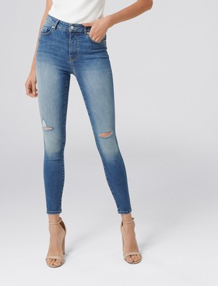Forever New Zoe Mid-Rise Ankle Grazer Jeans - Oslo Blue Distress - 10