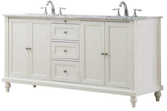 "Direct Vanity Sink Classic 70"" Pearl White Double Vanity, Top: Carrara Marble, w/ Mirror"