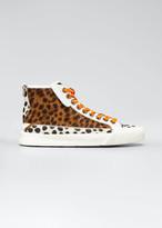 Jimmy Choo Impala Animal-Print Fur High-Top Sneakers