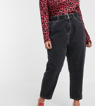 N. Liquor Poker Plus mom jeans in washed black co-ord