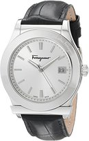 Salvatore Ferragamo Men's FF3930014 1898 Stainless Steel Watch with Black Leather Strap