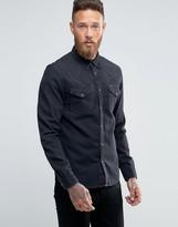 Lee Denim Shirt Western Slim Fit Pitch Black