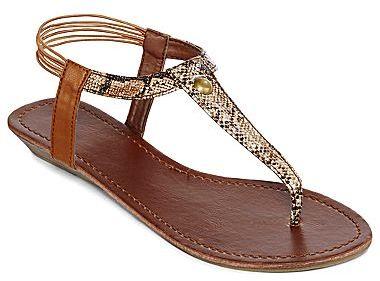 totes Snakeskin-Print T-Strap Thong Sandals