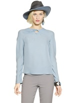 Emporio Armani Long Sleeved Knot Silk Georgette Top