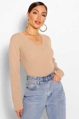 boohoo V Neck Rib Knit Bodysuit