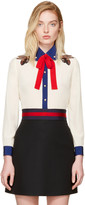 Gucci Off-White Silk Bee Blouse