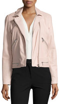 Rebecca Taylor Washed Leather Motorcycle Jacket, Pink