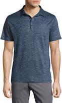 Neiman Marcus Short-Sleeve Linen Polo Shirt, Blue