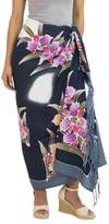 Artisan Crafted Black Rayon Sarong with Floral Motif, 'Luminous Orchids'