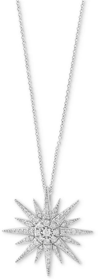Effy Pave Classica by Diamond Starbust Pendant Necklace (1/2 ct. t.w.) in 14k White Gold