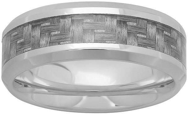 JCPenney MODERN BRIDE Personalized Mens 8mm Stainless Steel and Carbon Fiber Inlay Wedding Band