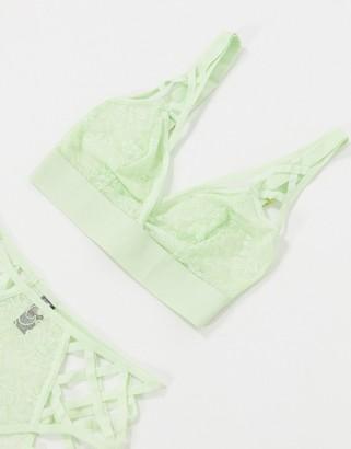 Tutti Rouge Fuller Bust Ella strappy detail longline bralette in green