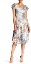 Komarov V-Neck Flutter Sleeve Print Dress