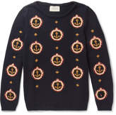 Gucci Anchor-Embroidered Cotton Sweater