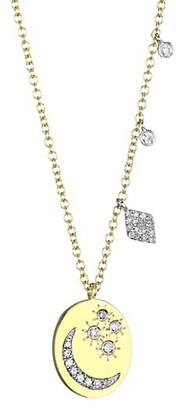 Meira T 14K Yellow Gold Diamond Moon Star Charm Necklace