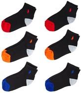 Ralph Lauren Boys' Athletic Quarter Socks, 6 Pack - Sizes 4-7