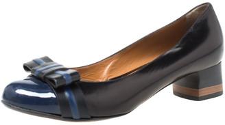Fendi Black/Blue Leather Cap Toe Bow Detail Pumps Size 38.5