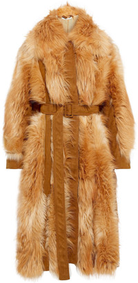 Stella McCartney Belted Paneled Faux Fur And Suede Coat