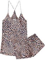 Olivia von Halle - Bella Silk-satin Pajama Set - Leopard print