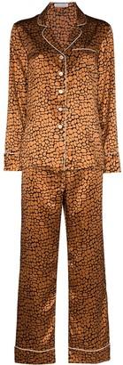 Olivia von Halle Lila leopard-print silk pyjamas