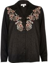 River Island Womens Black jacquard shirt with floral embroidery
