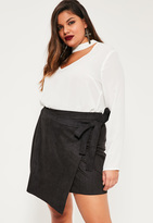 Missguided Plus Size Black Faux Suede Mini Skirt