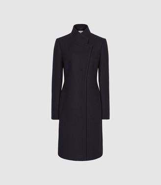 Reiss Maya - Wool Blend Mid Length Coat in Navy