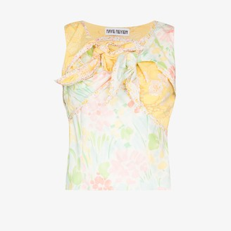 Rave Review Nora knotted contrast print top