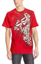 Southpole Men's Flock and Screen Print Graphic T-Shirt with Asymmetric Vertical Logo