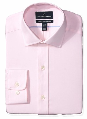 Buttoned Down Classic Fit Spread Collar Solid Non-Iron Dress Shirt Light Pink/No Pockets 17.5 Inches Neck 32 Inches Sleeve