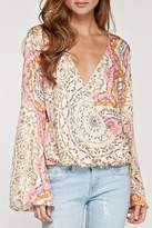 Love Stitch Lovestitch Paisley Surplice Top